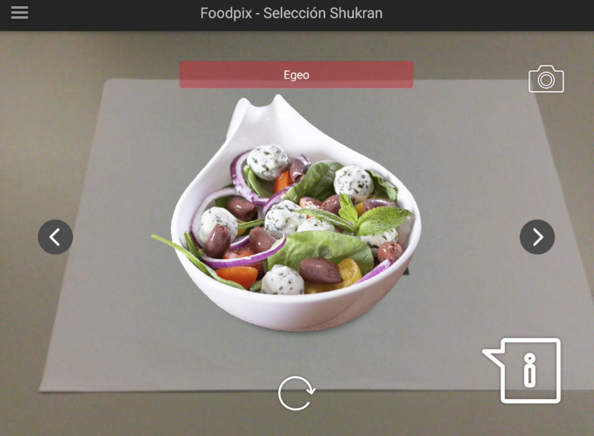 AR based food menu