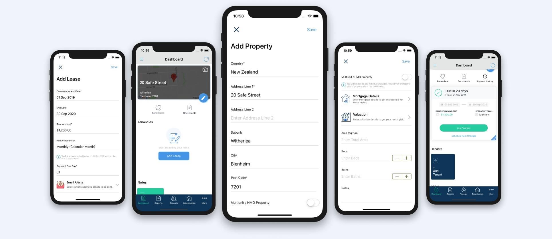 Screenshots of Landlord App