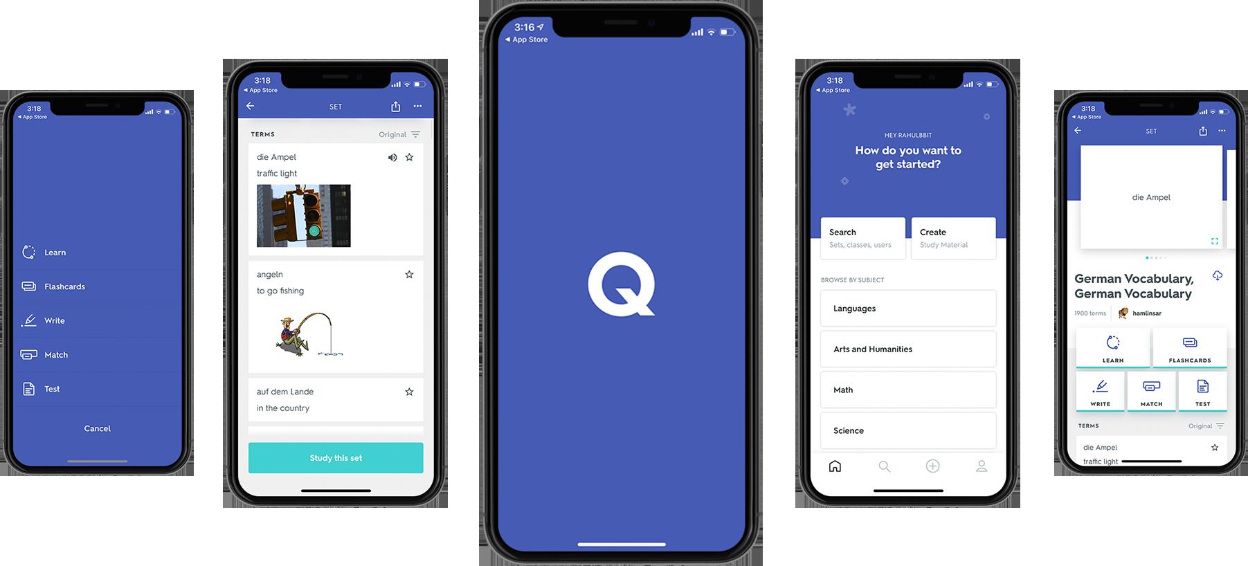 Screenshots of the Quizlet App