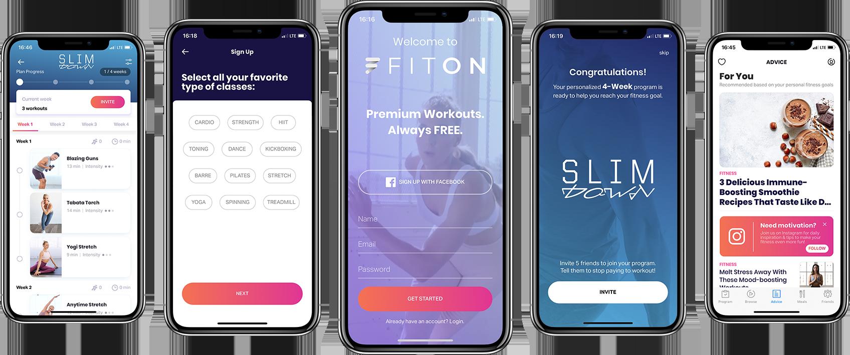 screenshots of the FitOn app