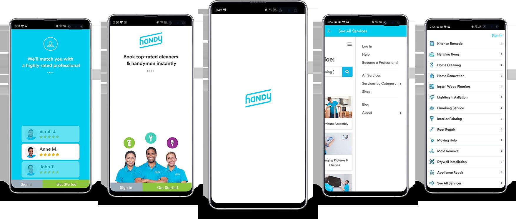 Screenshots of the Handy App
