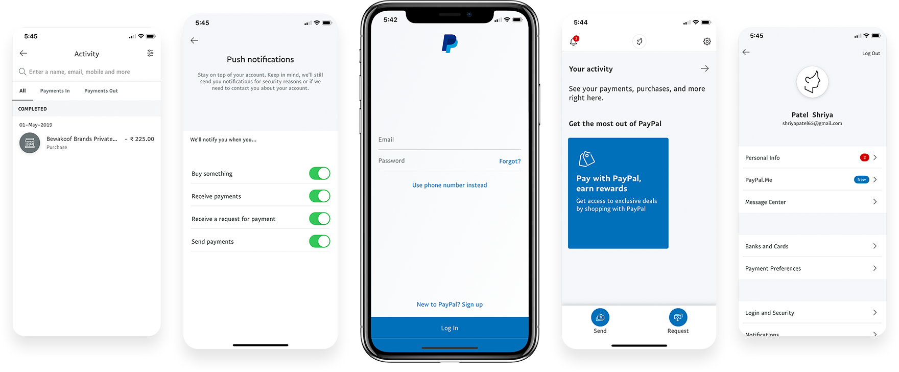 Screenshots of the PayPal App