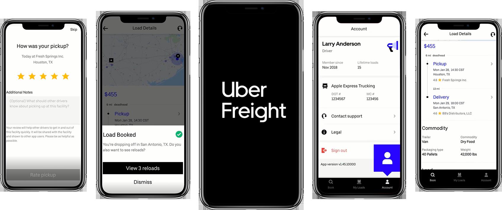 screenshots of uber freight app
