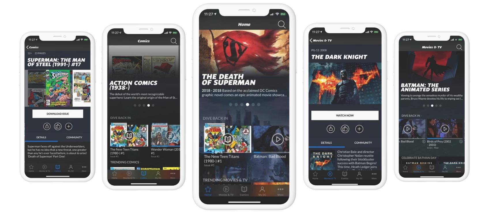 screenshots of DC universe app