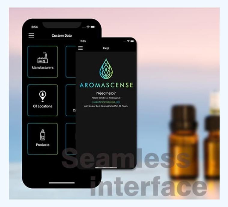 essential oils app custom data
