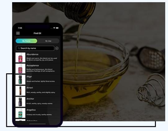 Find essential oils app screen