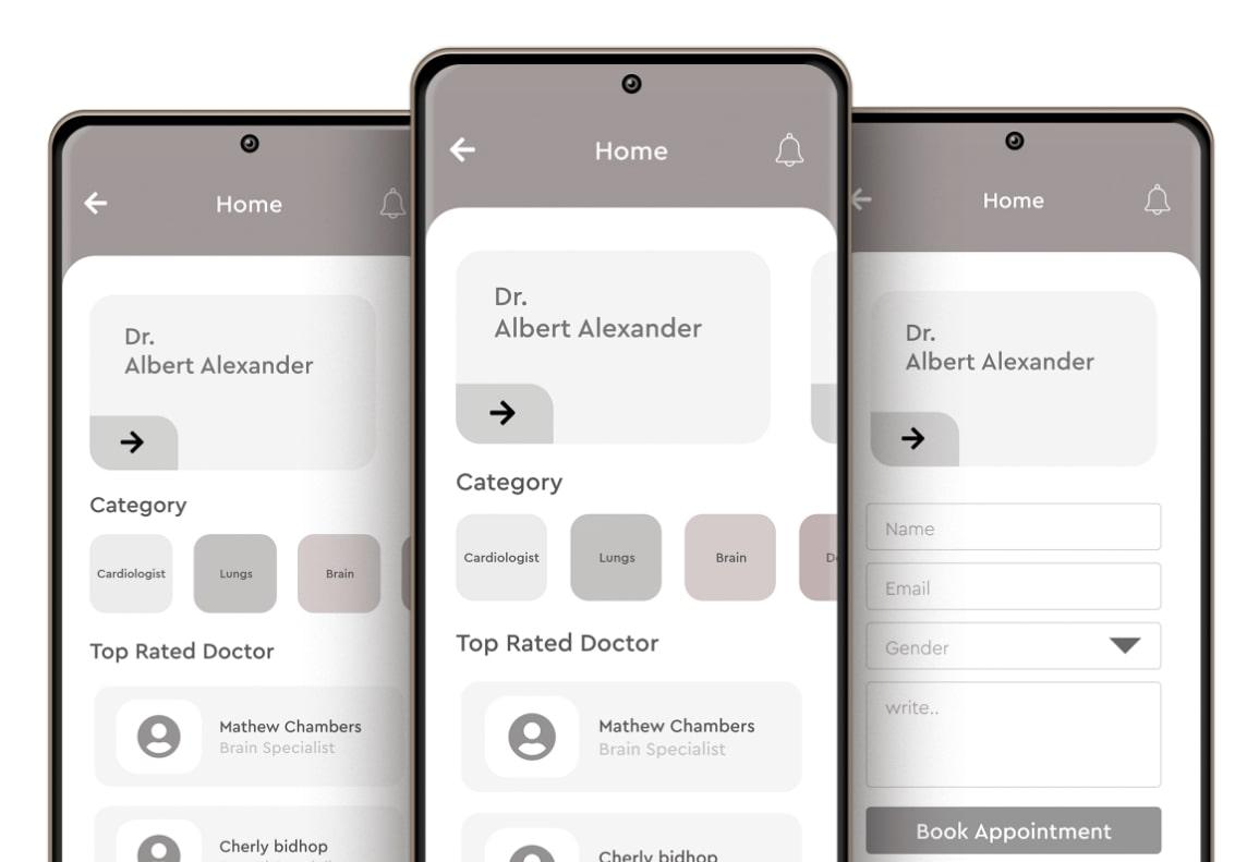 teleMedicine app wireframes