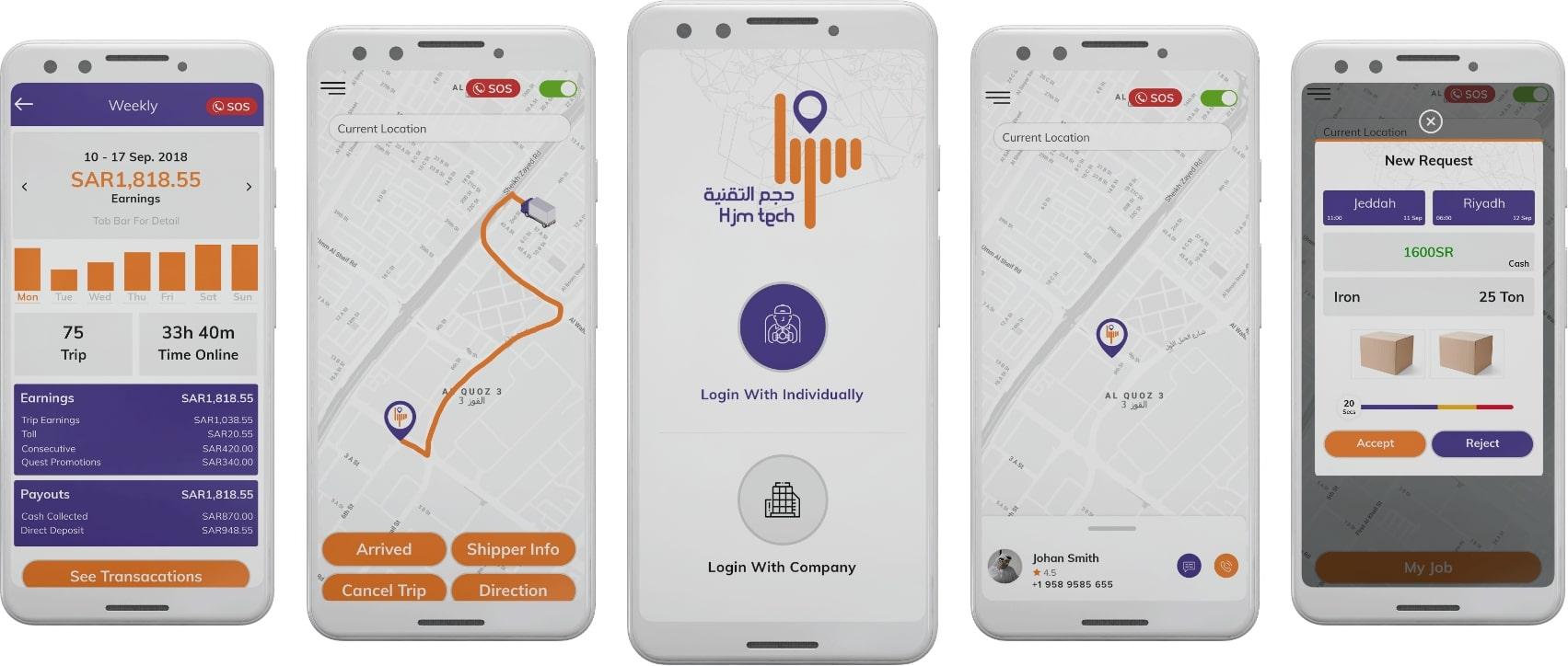 app screenshots for transportation