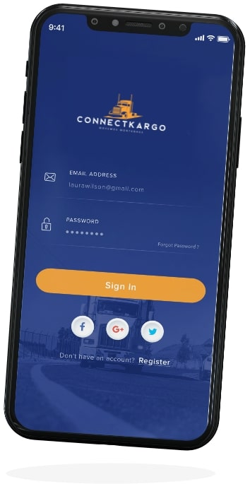 connectcargo shipper app screen four