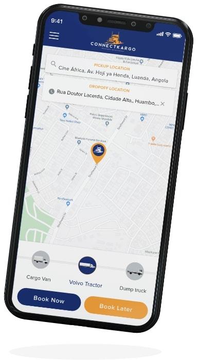 connectcargo shipper app screen two