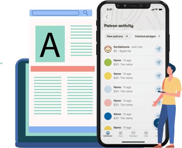 Patreon app at glance