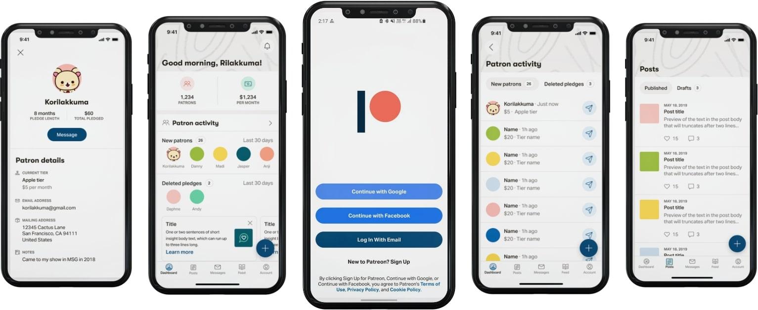 Screenshots-of patreon app