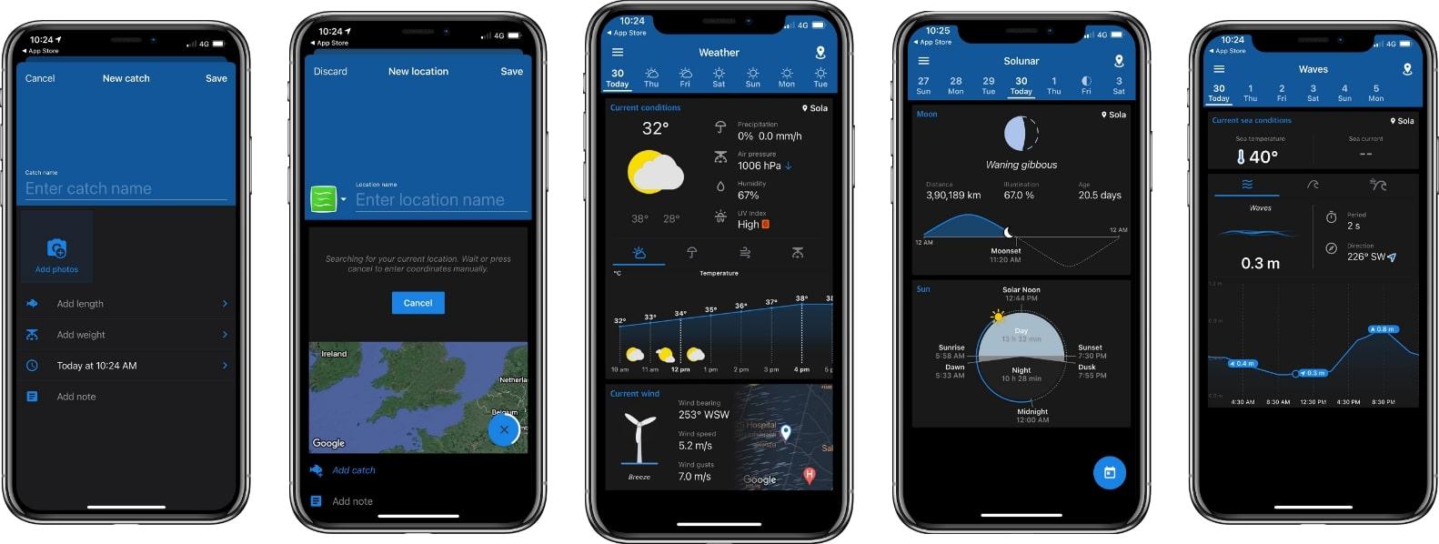 Fishing points mobile app screenshots