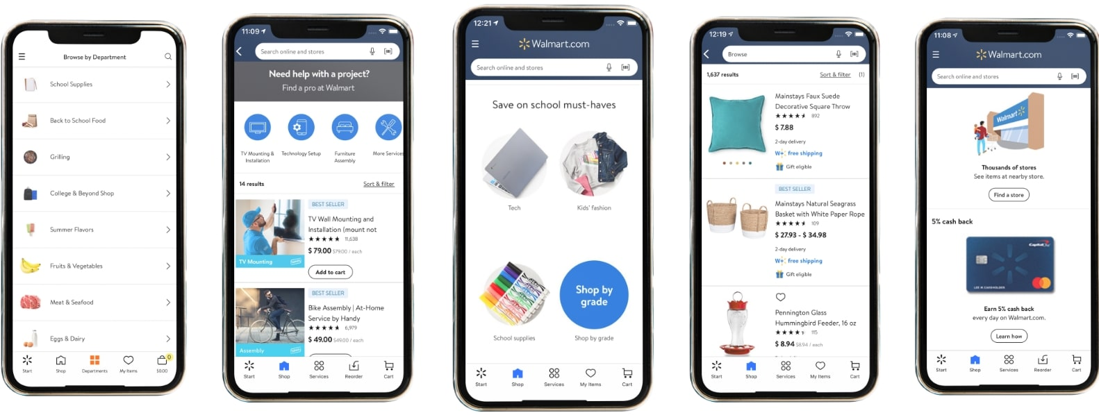 screenshots of the walmart mobile app