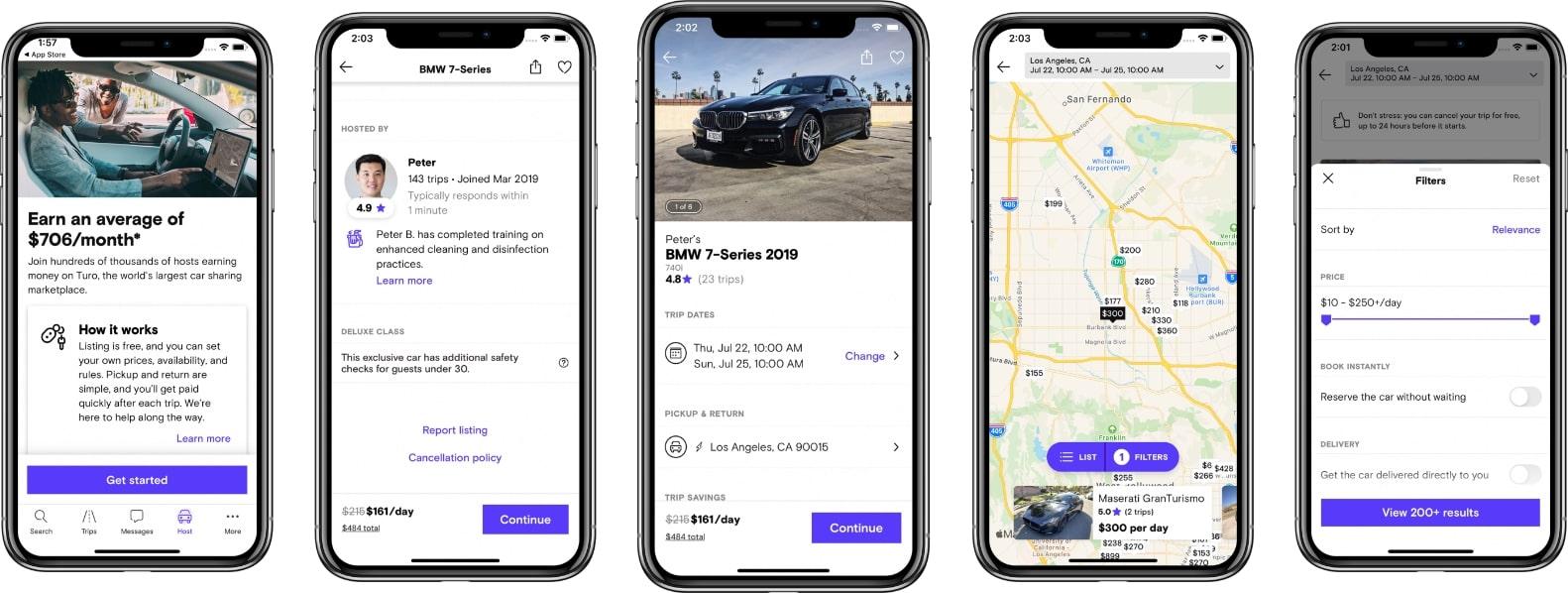 screenshot of the turo app