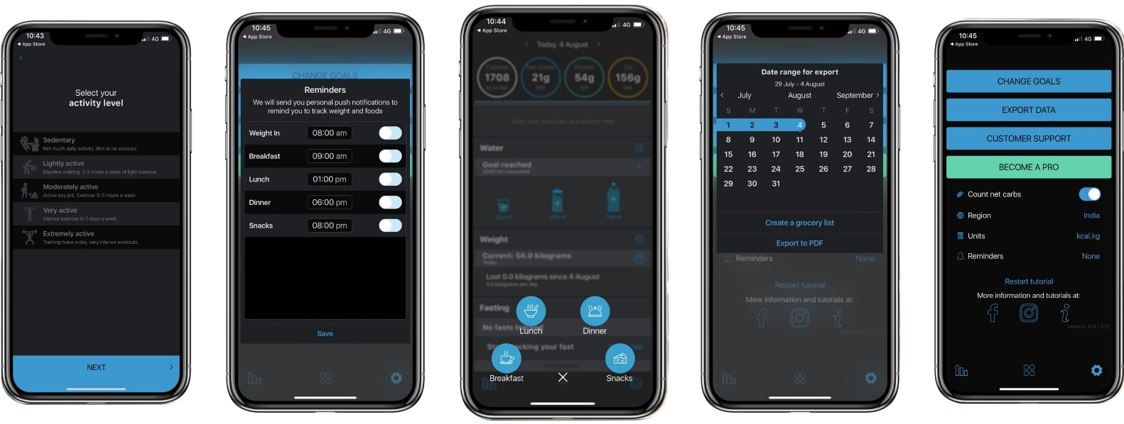 screenshot of the keto diet app