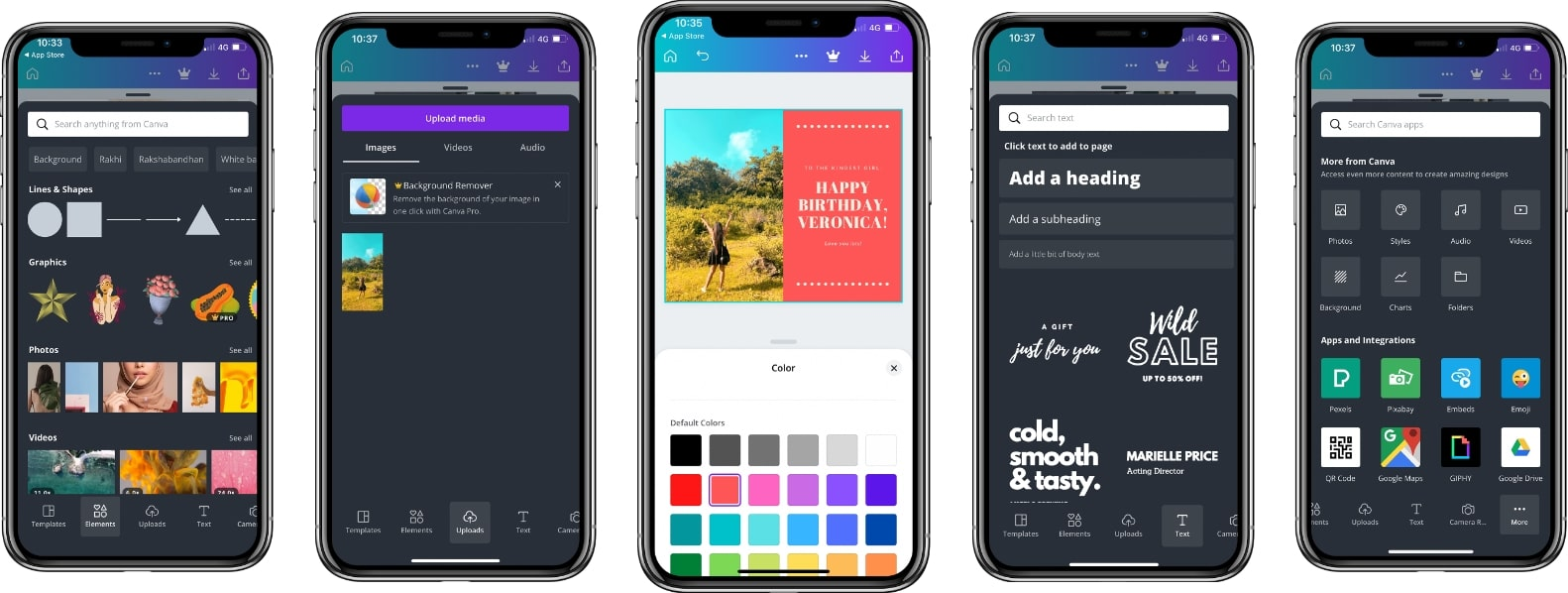 screenshot of the canva mobile app