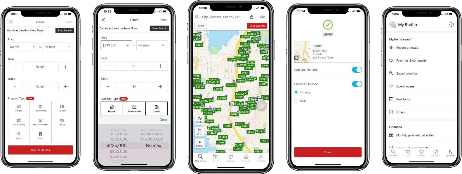 screenshot of the redfin application