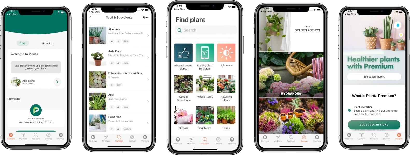 planta app ui design